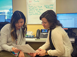 University of Colorado first-year resident Dr. Grace Huh (left) consults with Megan Louderman, postdoctoral fellow in Colorado's Irving Harris Program in Child Development and Infant Mental Health.