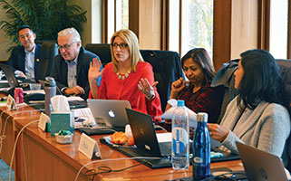 Drs. Clifton Lee, Doug Carlson, Jennifer O'Toole, Vineeta Mittal, and Neha Shah discuss safe and effective care in the field of pediatric hospital medicine during a Pediatric Hospital Medicine Subboard meeting.