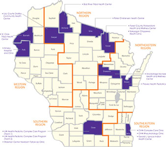 Map of participating practices in Wisconsin